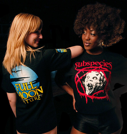 They&#8217;re Back! Puppet Master, Subspecies, Full Moon Logo shirts, on hot chicks