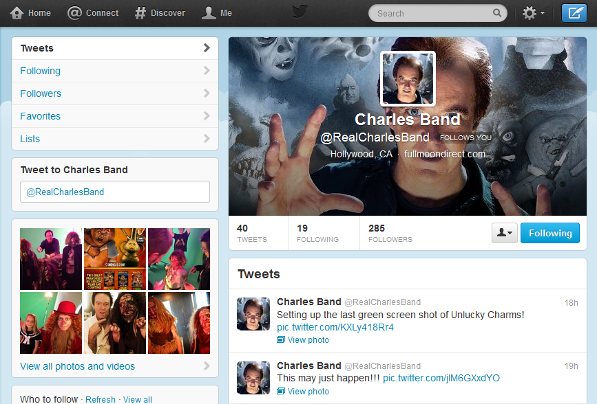 Charles Band Is Now On Twitter!